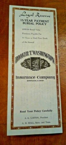 1952 BOOKER T. WASHINGTON INSURANCE COMPANY LEGAL RESERVE BURIAL POLICY