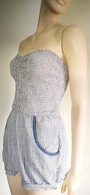 Baumwolle Gestreiften Overalls (HOLLISTER Jumpsuit Playsuit Overall *Gr. S 36 *Blau Weiß *Gestreift *Baumwolle )