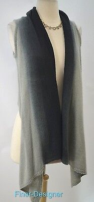 jlee Silver mohair blend Sweater Vest top waterfall fly away draping ombre S VTG