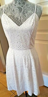 NWT Aqua Juniors Casual Summer Lined Cut Out Knit Dress Large Lilac/White NEW   - Casual Lavender Dress