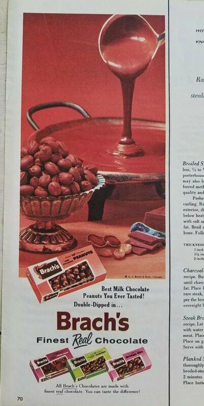 1956 Brachs chocolate covered milk chocolate peanuts candy ad