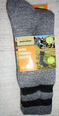 MEN'S ADVENTURIDGE 2PR THERMAL CUSHION WOOL-BLEND BOOT CREW SOCKS Gray shoe 6-12