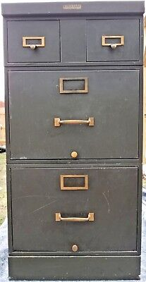 Vintage Industrial Stackable Metal File Cabinet Drawer Brass Green Steelcase