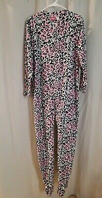 Hello Kitty Footie Long Pajamas PJ's Pink Black Small Sanrio NWT 2014 - Pink Footie Pajamas