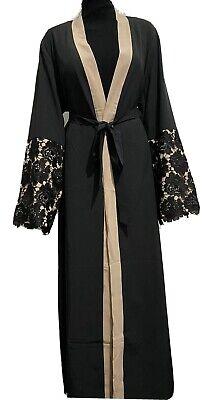 Modest Muslim Dubai Abaya  Black & Beige, Size 54