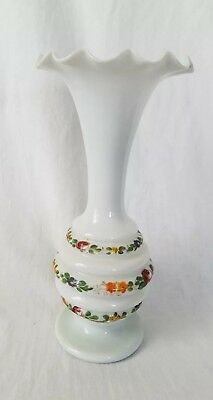 """Vintage Bristol Satin Hand Blown And Hand Painted Ruffled Top Vase  10-1/2"""""""