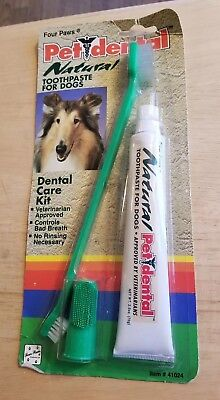 Pet Dental Natural Toothpaste For Dogs Dentist Care Kit Toothbrush Four Paws New