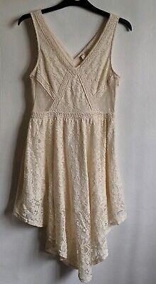 Cream Crochet peasant Dres Tunic Top Mini 10 UK Wedding Festival Mesh Cut Out...](Cut Out Dres)