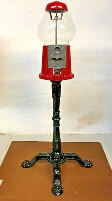 Vintage Red Carousel 1985 Glass Globe Gumball Machine with Stand