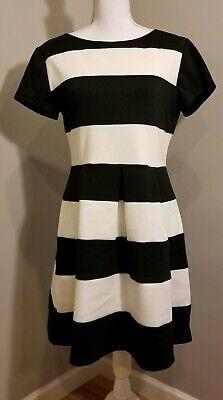 Juniors B Darlin Black White Striped Fit & Flare Skater Dress 13/14  36