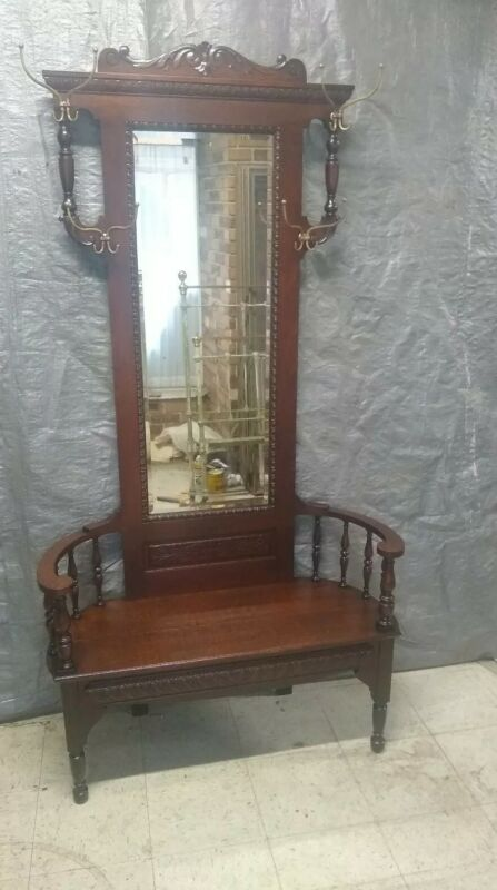 Antique Oak Hall Seat Hall tree Original Finish Beveled Mirror Unusual