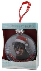 Rottweiler Rottie Glass Bauble Christmas Decoration/Ornament Gift/Present Dog