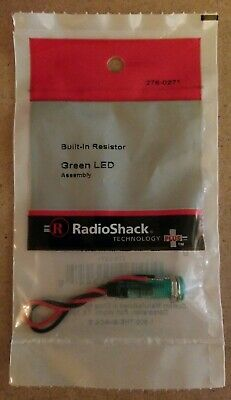 NEW! RadioShack Green LED Assembly w/ Built-In Resistor 2760271 *FREE SHIPPING*