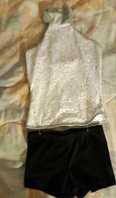 Girl's 2 pc. Jazz Dance Costume White/Silver Sequin Top & Black Shorts sz. 10/12