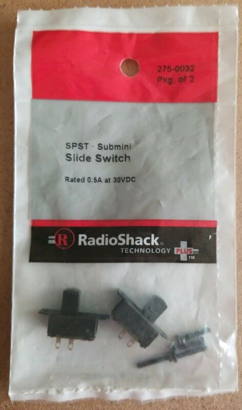 NEW! RadioShack SPST Submini Slide Switches (Pkg. Of 2) 275-0032 *FREE SHIPPING*
