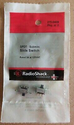 New Radioshack Spdt Submini Slide Switches Pkg. Of 2 2750409 Free Shipping