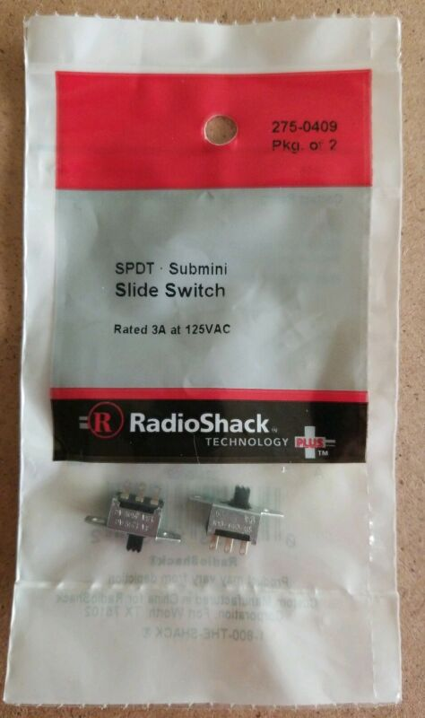 NEW! RadioShack SPDT Submini Slide Switches (Pkg. Of 2) 275-0409 *FREE SHIPPING*