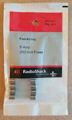 New Radioshack 5 Amp 250 Volt Fast-acting Fuses 2701011 Free Shipping
