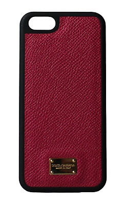 NEW DOLCE & GABBANA Phone Case Skin Red Gold Logo Leather 12,5x6cm iPhone5