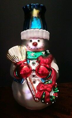 Vintage Images Mercury Glass Christmas Snowman Candle Stick Holder