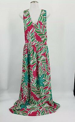 Southern Frock Maxi Dress S Small Pink Green Floral Palm Leaf Long Criss Cross  ()