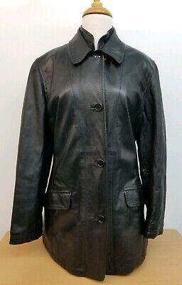 FAY Italy Women Black Leather Jacket Size L
