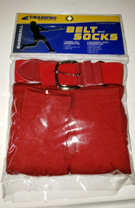 Champro Baseball Socks (2 PAIR) & Belt Combo Red New