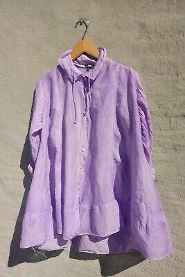 APU sz M Boho Blouse Purple Tie Dye Button Tunic Cotton Silk top art to wear