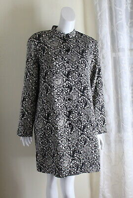 NWT Coldwater Creek -Sz L Gold Imperial Long A-Line Brocade Duster Jacket Coat