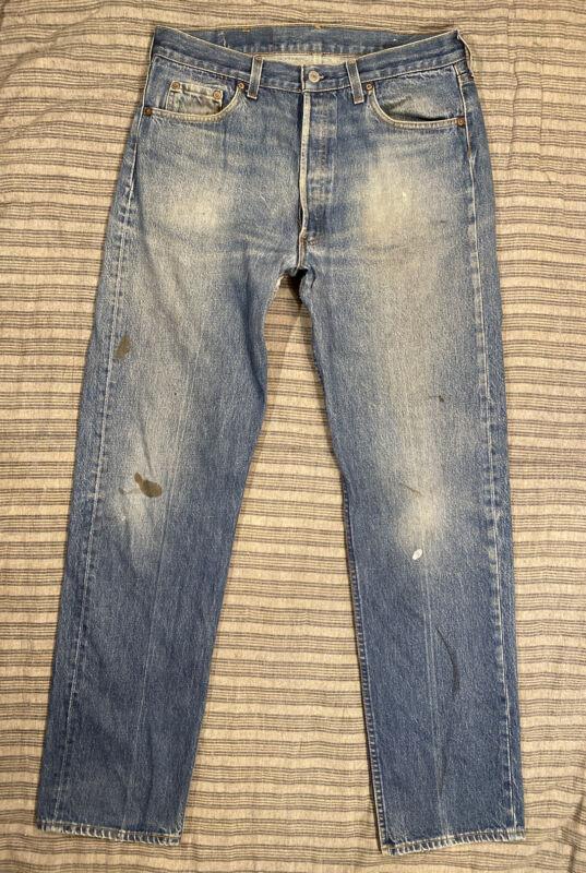 VTG Levis 501 Denim Jean Pant 34x33 1980s Faded Distressed USA