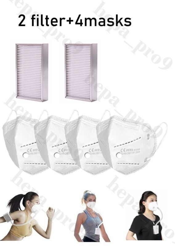 【2 Filters+ 4 Masks】replacement for broad airpro Purifying Respiratpr Mask