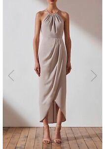Shona Joy Core High Neck Ruched Dress-Oyster