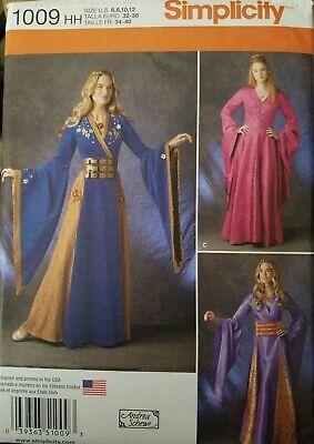 Simplicity Sewing Pattern 1009 Renaissance Medieval Dress 6-12 Andrea Schewe New - Renaissance Dress Pattern