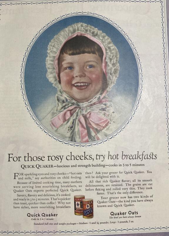 "Vintage Ad Quaker Oats 1925 Original Rosy Cheeks Kitchen Decor 10 1/2""x 14"