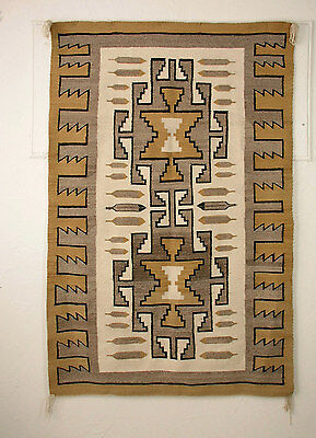 NAVAJO CRYSTAL RUG, FEATHERS, 1940'S, GORGEOUS! 44 X 66 IN.