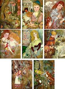 Vintage Adrienne Segur golden book illustration cards tag  L'Oseau D'Or set of 8