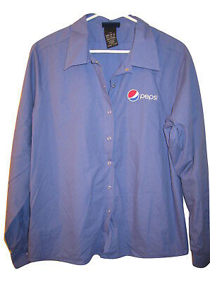 Aramark Pepsi Work Shirt Uniform Blue Short Sleeve Button Front Womens Xl