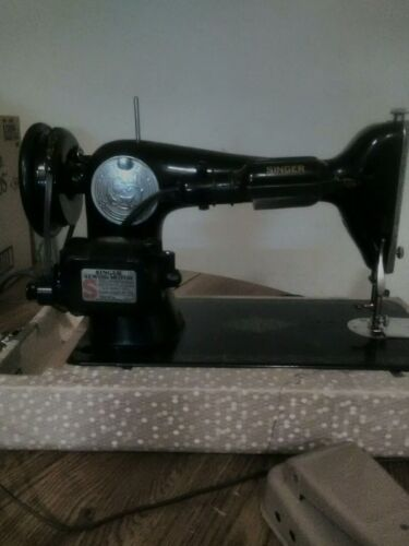Singer Sewing Machine Vintage A G 964758 With Black With Gold Trim Edges - $73.00