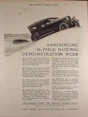 "Original Print Ad 1924, Paige Automobile Car, Demonstration Week, 11""x14"" VG+"