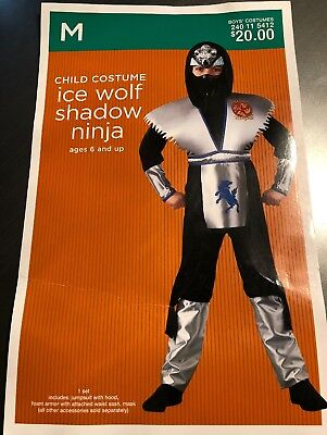 Ice Wolf Shadow Ninja Costume Medium Mask Jumpsuit With Hood & Foam Armor