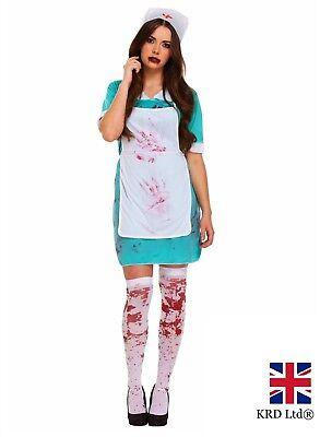 Womens ZOMBIE BLOODY NURSE + TIGHTS Halloween Fancy Dress Costume Horror NEW UK