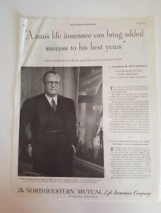 1951 Northwestern Mutual Life Insurance policyholder Mr. Steinkraus success ad