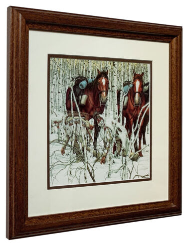 "Bev Doolittle  ""Two Indian Horses"" Detail Matted & Framed Open Edition Art Print"