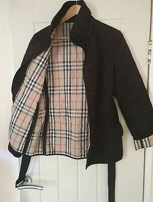 BURBERRY RP£490 ICONIC BLACK QUILTED NOVA CHECK BELTED COAT JACKET S 8 10 TRENCH