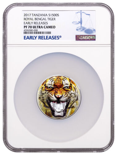 2017 Tanzania Rare Wildlife Bengal Tiger UHR 2 oz Silver NGC PF70 UC ER SKU49402