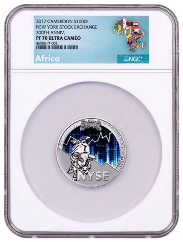 2017 Republic Cameroon 200th NY Stock Exchange 1 oz. Silver NGC PF70 UC SKU52471