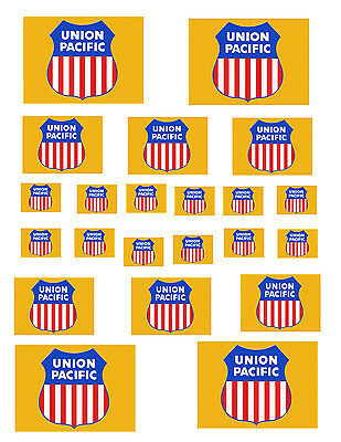 """SHEET OF UNION PACIFIC STICKERS  (8.5"""" X 11"""") S scale"""