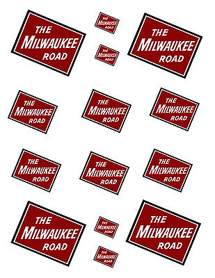 """SHEET OF MILWAUKEE ROAD STICKERS  (8.5"""" X 11"""") S scale"""