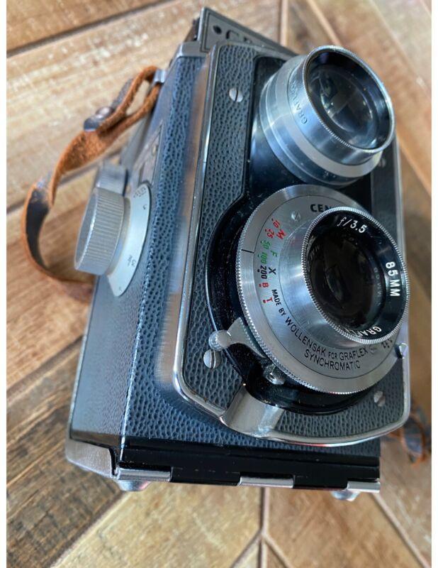 Graflex 22 Grey TLR 1964 Camera W/ 85mm 3.5 Graftar Lens