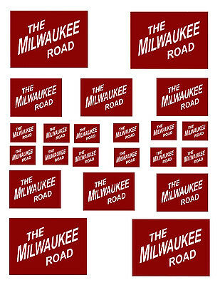 """SHEET OF MILWAUKEE ROAD STICKERS  (8.5"""" X 11"""") O scale On30 On3"""